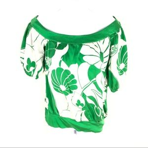Bebe Womens Green Floral Top XS